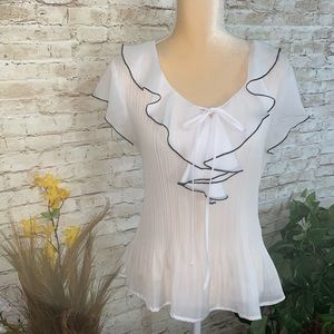 White sheer Sunny Lee ruffled blouse size Large